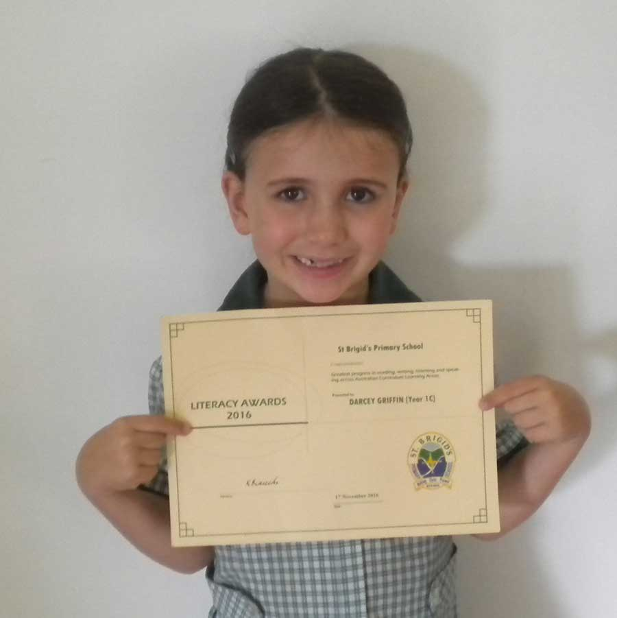 Darcey, Year 2, Queensland - Darcey has moderate hearing loss, and last year received a special literacy award from her school for high achievements in reading, writing, listening and speaking.